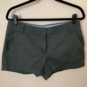 "J. Crew Green Chino Shorts with 3"" Inseam"